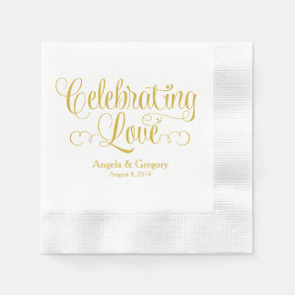 Gold Celebrating Love Personalized Wedding Disposable Napkins