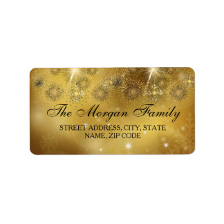 Gold Celebration Sparkle Christmas Address Labels