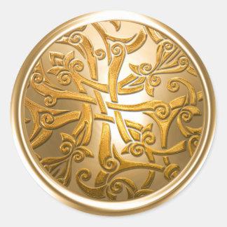 Gold Celtic Damask Envelope Seal Round Sticker