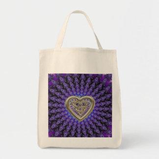 Gold Celtic Heart Indigo Fractal Mandala Tote Bag Grocery Tote Bag