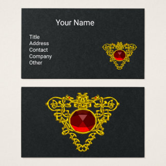GOLD CELTIC HEART JEWEL WITH RED RUBY Black Business Card
