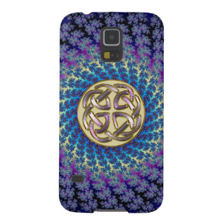 Gold Celtic Knot on Spiral Fractal Samsung Galaxy Cases For Galaxy S5