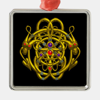 GOLD CELTIC KNOTS WITH TWIN DRAGONS SQUARE METAL CHRISTMAS ORNAMENT