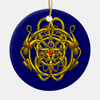 GOLD CELTIC KNOTS WITH TWIN DRAGONS Double-Sided CERAMIC ROUND CHRISTMAS ORNAMENT