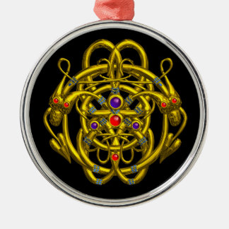 GOLD CELTIC KNOTS WITH TWIN DRAGONS ROUND METAL CHRISTMAS ORNAMENT