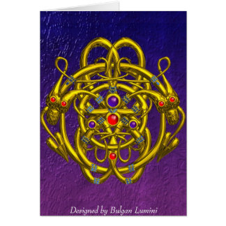 GOLD CELTIC KNOTS WITH TWIN DRAGONS GREETING CARD