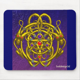 GOLD CELTIC KNOTS WITH TWIN DRAGONS MOUSE MAT