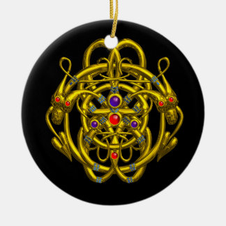 GOLD CELTIC KNOTS WITH TWIN DRAGONS ROUND CERAMIC DECORATION