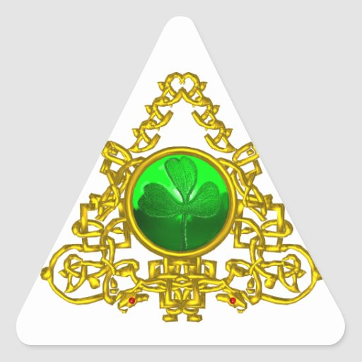 GOLD CELTIC TRIANGLE WITH SHAMROCK TRIANGLE STICKER