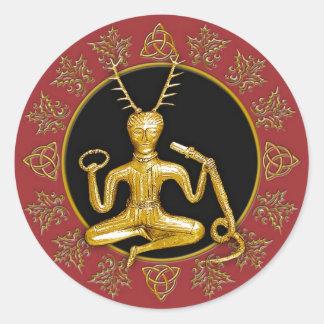 Gold Cernunnos, Holly, & Tri-quatra #11 - Sticker