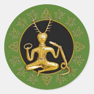 Gold Cernunnos, Holly, & Tri-quatra #12 - Sticker
