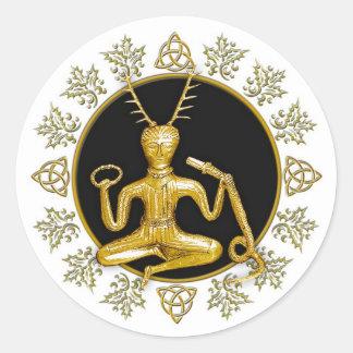 Gold Cernunnos, Holly, & Tri-quatra #1 - Sticker