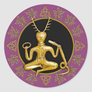 Gold Cernunnos Holly Tri-quatra 1 - Sticker