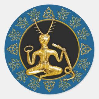 Gold Cernunnos, Holly, & Tri-quatra #5 - Sticker