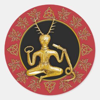 Gold Cernunnos, Holly, & Tri-quatra #6 - Sticker