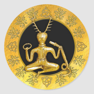 Gold Cernunnos, Holly, & Tri-quatra #8 - Sticker