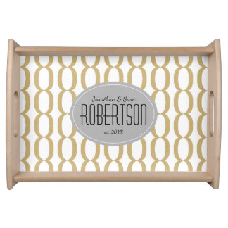 Gold Chain Pattern Newlywed Personalized Serving Tray