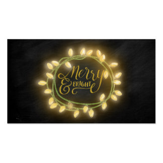 Gold Chalk Drawn Merry and Bright Holiday Pack Of Standard Business Cards