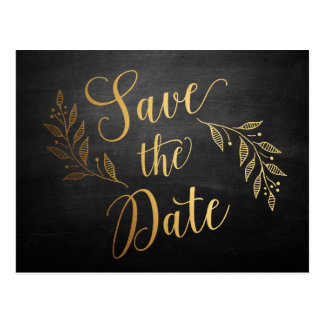 Gold Chalkboard Rustic Save the Date Postcard