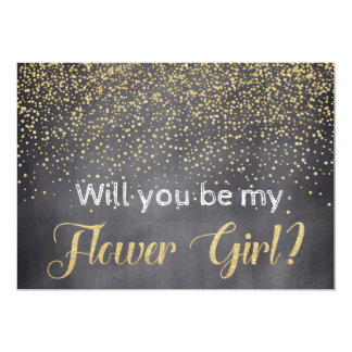 Gold & Chalkboard Will you be My Flower Girl? Card