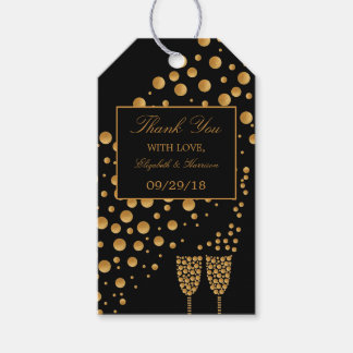 Gold Champagne Bubbles Engagement Party Gift Tags