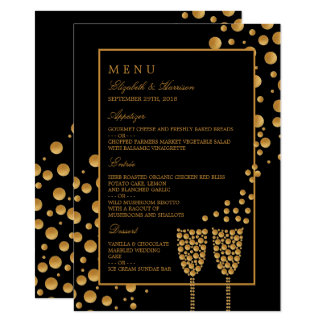 Gold Champagne Bubbles Engagement Party Menu Card