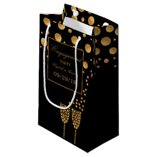Gold Champagne Bubbles Engagement Party Small Gift Bag