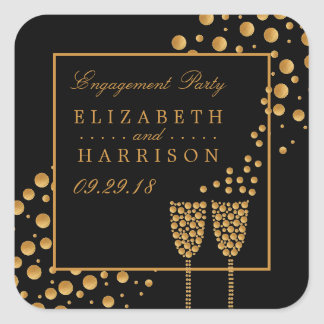 Gold Champagne Bubbles Engagement Party Square Sticker