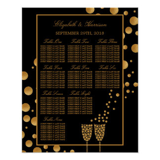 Gold Champagne Bubbles Engagement Seating Chart Poster