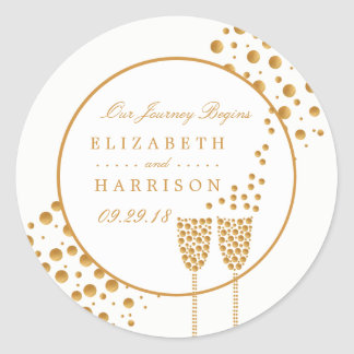 Gold Champagne Bubbles Wedding Classic Round Sticker