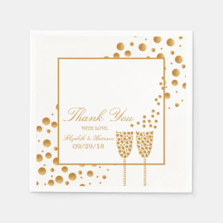 Gold Champagne Bubbles Wedding Disposable Serviette