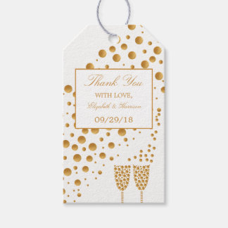Gold Champagne Bubbles Wedding Gift Tags