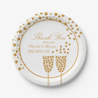 Gold Champagne Bubbles Wedding Paper Plate