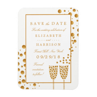 Gold Champagne Bubbles Wedding Save The Date Rectangular Photo Magnet