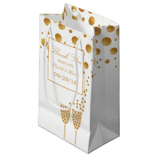 Gold Champagne Bubbles Wedding Small Gift Bag