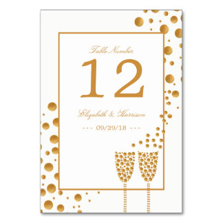 Gold Champagne Bubbles Wedding Table No. Card