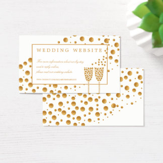 Gold Champagne Bubbles Wedding Website Business Card