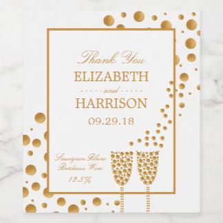 Gold Champagne Bubbles Wedding Wine Label