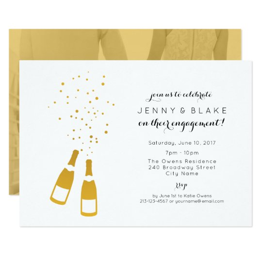 Gold Champagne Engagement Party Invitation
