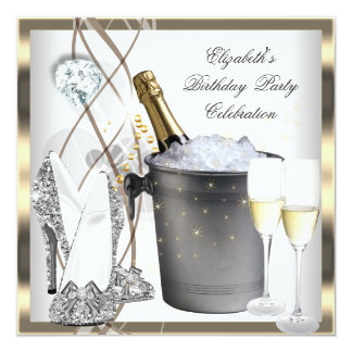 Gold Champagne High Heels Elegant Silver Birthday 13 Cm X 13 Cm Square Invitation Card