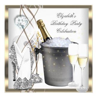 Gold Champagne High Heels Elegant Silver Birthday Invitation