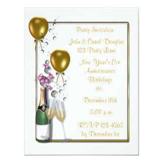 Gold Champagne Party Invitation