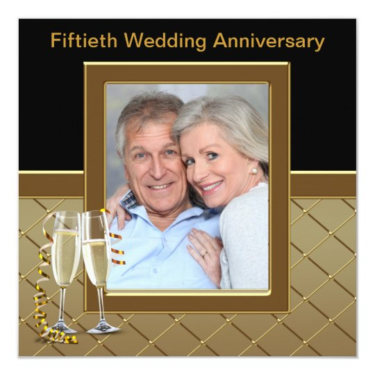 Gold Champagne Photo 50th Anniversary Party Card