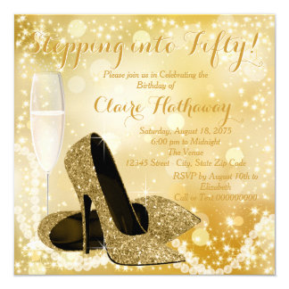 Gold Champagne Stepping into Fifty Birthday Party 13 Cm X 13 Cm Square Invitation Card