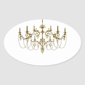 Gold Chandelier Any Background Color Envelope Seal Oval Sticker