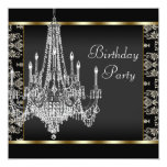 Gold Chandelier Black Damask Birthday Party Personalized Invite