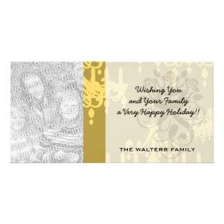gold chandelier damask pattern photo card template