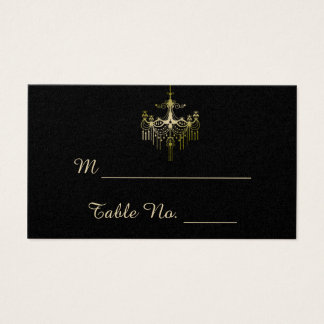 Gold Chandeliers on Black Posh Wedding Place Cards