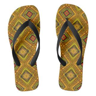 Gold Checkered Flip Flops