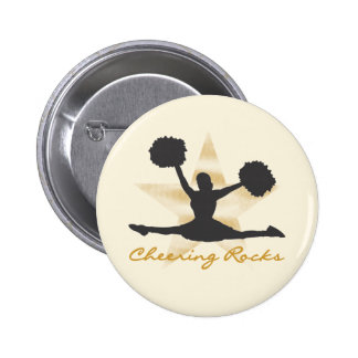 Gold Cheering Rocks T-shirts and Gifts 6 Cm Round Badge